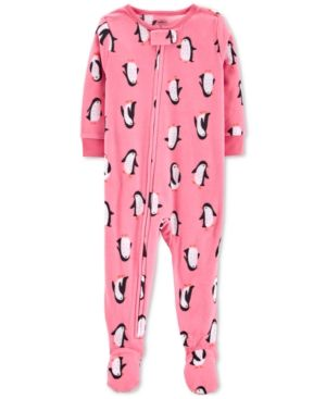 4b25a8c140e2 Carter s Toddler Girls Penguin-Print Fleece Footed Pajamas - Pink 4T ...