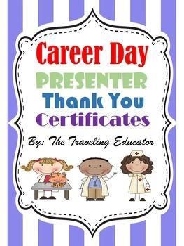 Career day activities compliments activities and counselling career day awardscertificates editable yadclub Image collections
