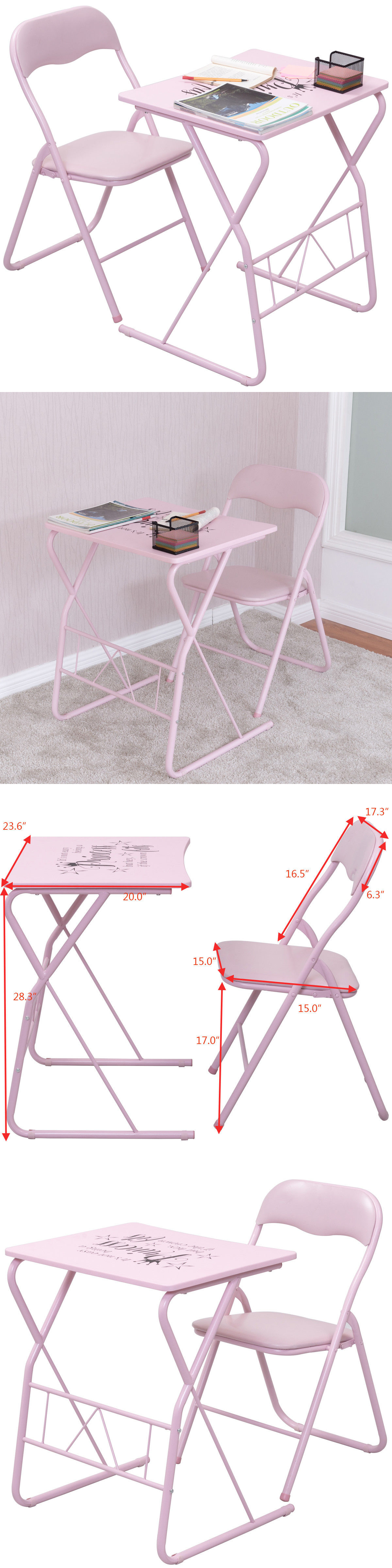 Kids Furniture Kids Folding Table Chair Set Study Writing Desk