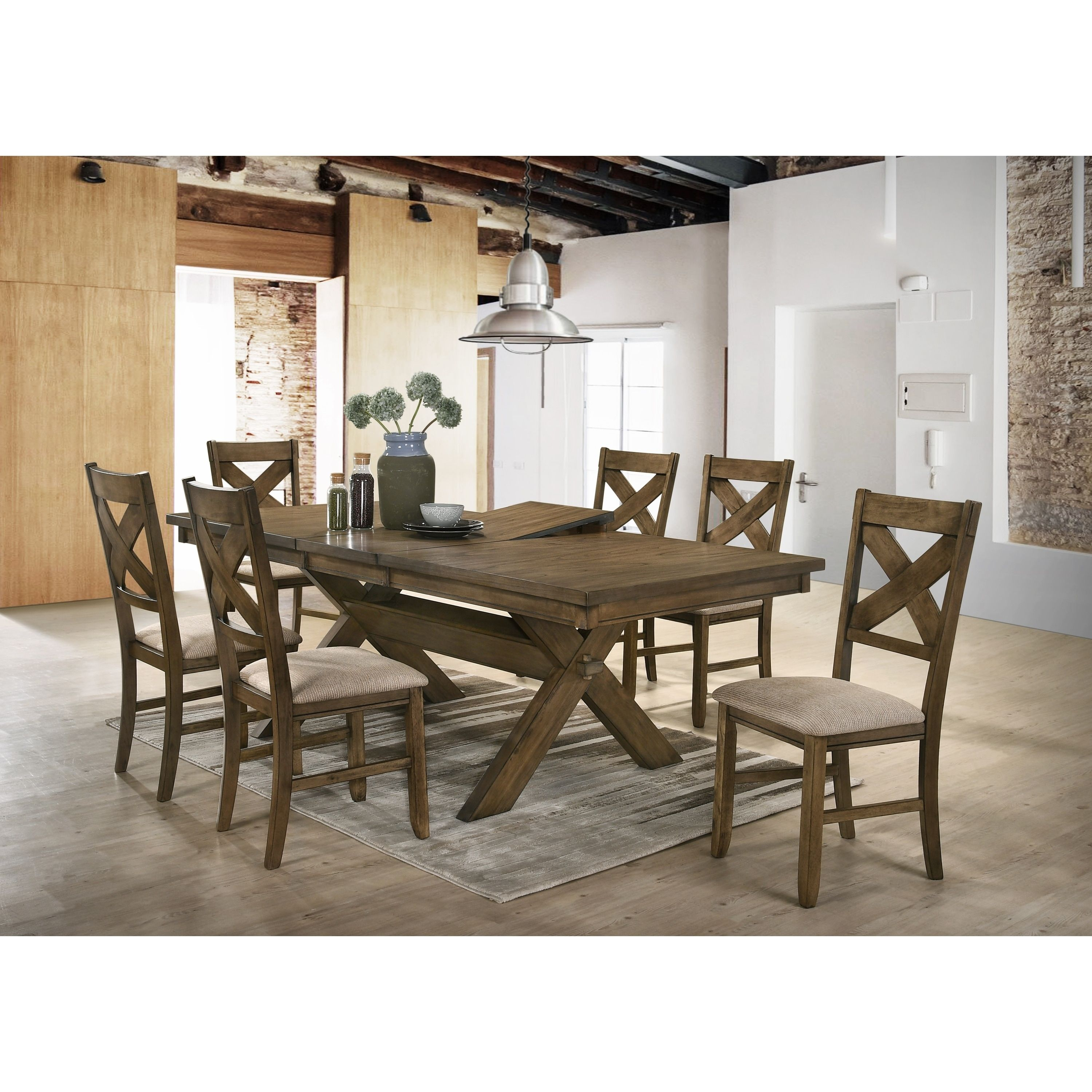 Raven Wood Dining Set Butterfly Leaf Table Six Chairs Brown