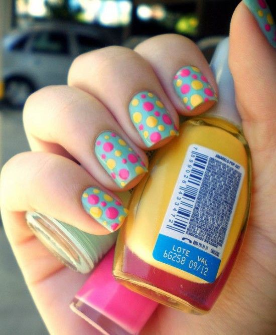 colorful and easy nail art designs for this summer , polka dots nail art - Colorful And Easy Nail Art Designs For This Summer , Polka Dots Nail