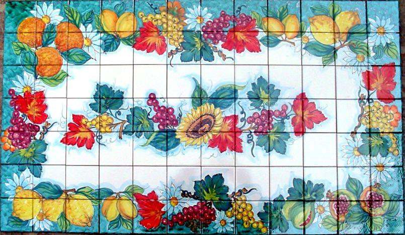 Pannelli a mosaico composti con piastrelle 10x10 cm ceramiche vietri - Mattonelle vietresi per cucina ...