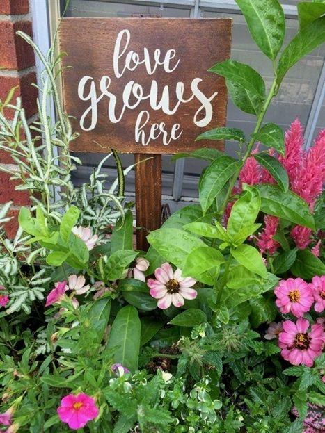 Garden Sign love grows here Wooden Garden Sign | Etsy in ...