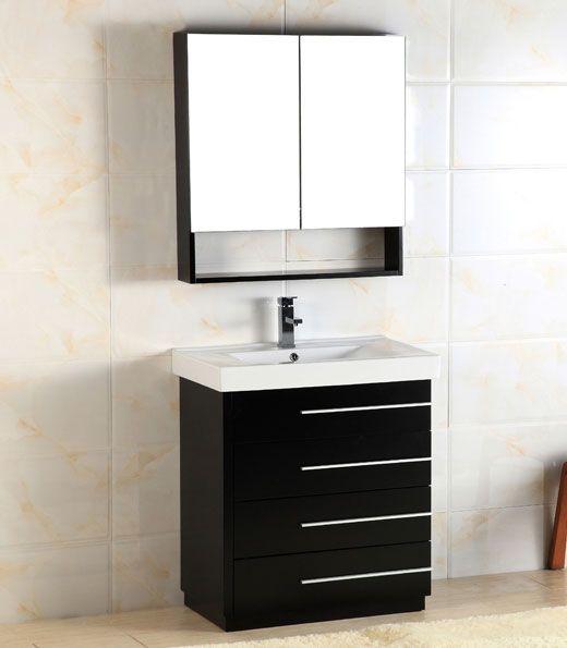 Adoos 30 Inch Black Modern Bathroom Vanity