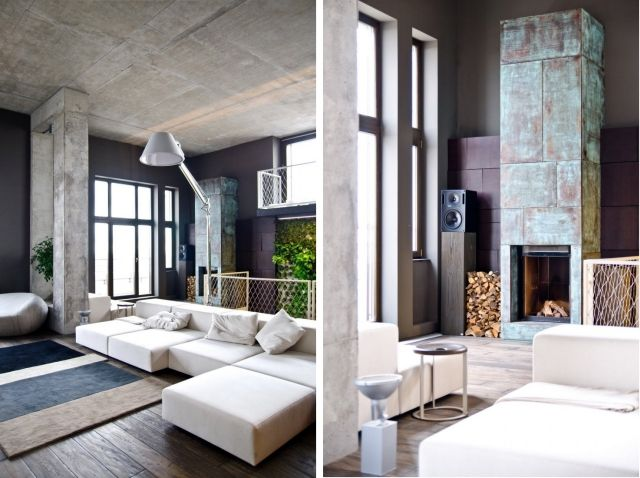 Inneneinrichtung Wohnung loft wohnung einrichtung schtbeton sande decke weisses sofa