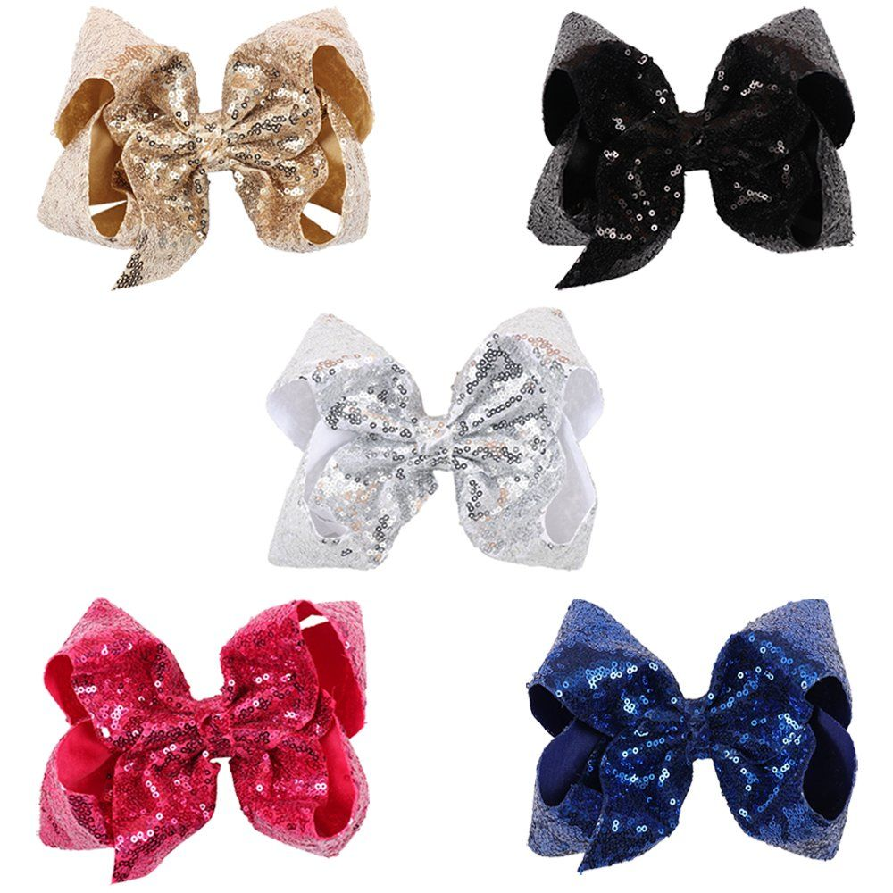 Ncmama baby girls boutique sparkle sequin hair bows big alligator