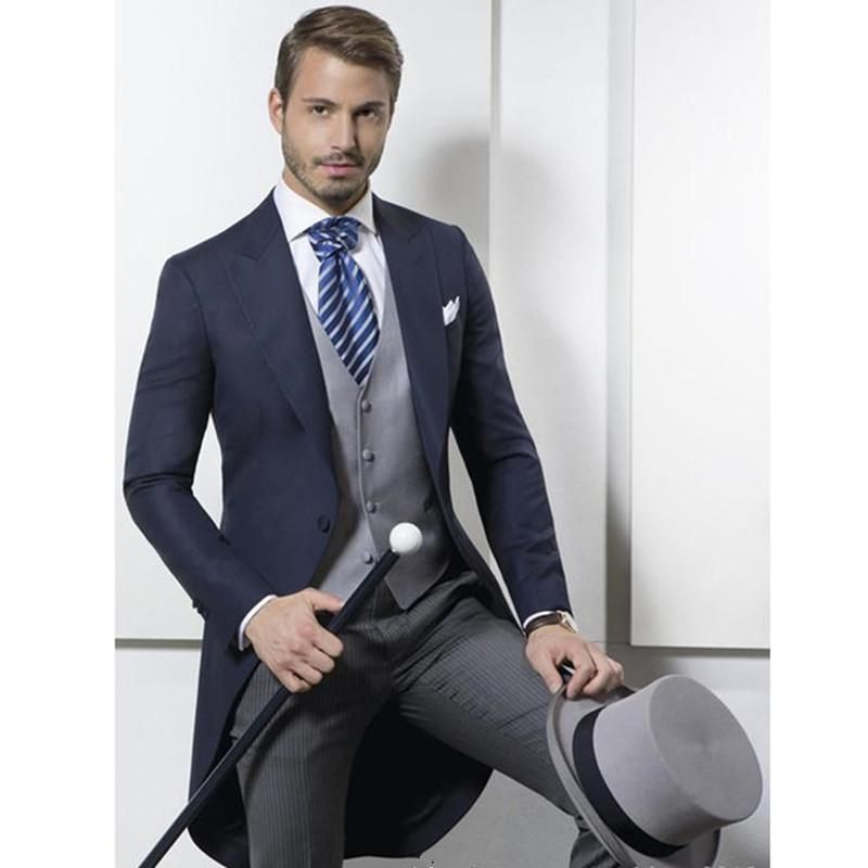 2017 Custom Made Classic Design Navy Blue Tailcoat Groom Tuxedos ...
