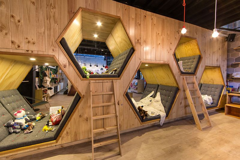 This Cafe Bookstore Has Hexagon Shaped Hideaway Spaces