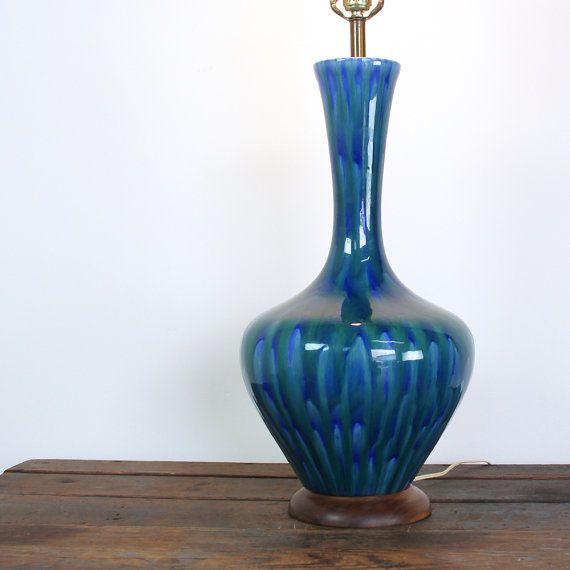 Mid Century Lamp Blue Drip Glaze Ceramic Vintage 1960s Mid Century Lamp Ceramic Lamp Glaze Ceramics