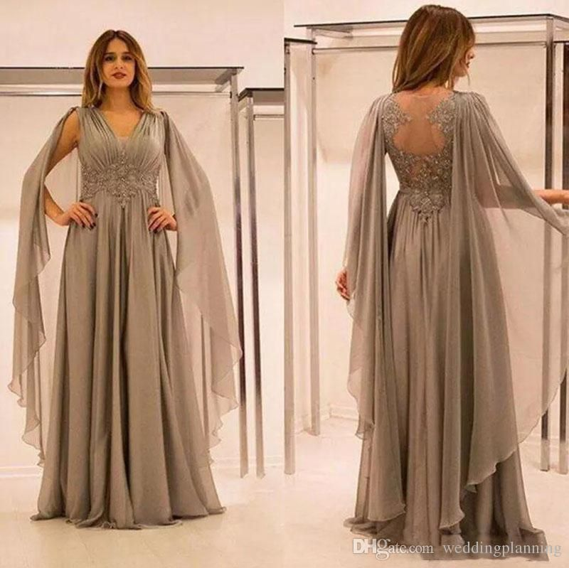 11cf0c3133 2018 Elegant Chiffon Illusion Back Mother Of The Bride Dresses With Lace  Applique Beads Ruched V Neck Mother Groom Dress Plus Size