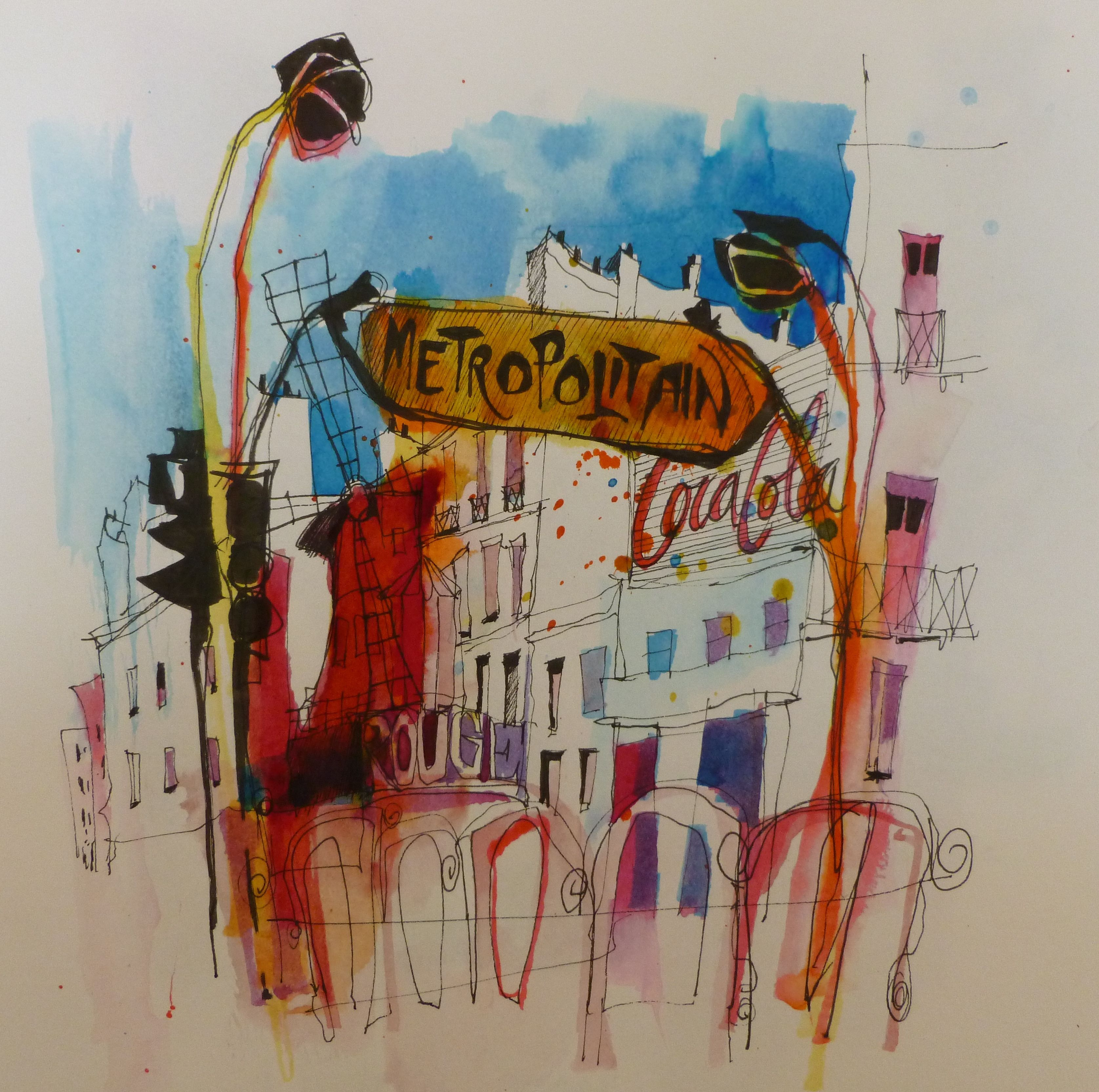 Moulin Rouge Paris Watercolor Illustration Painting