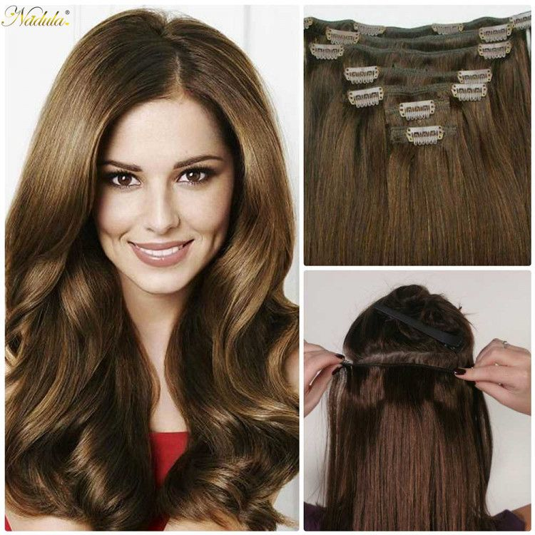 Nadula Cheap Real Remy Human Hair Extensions Clip In Full Head