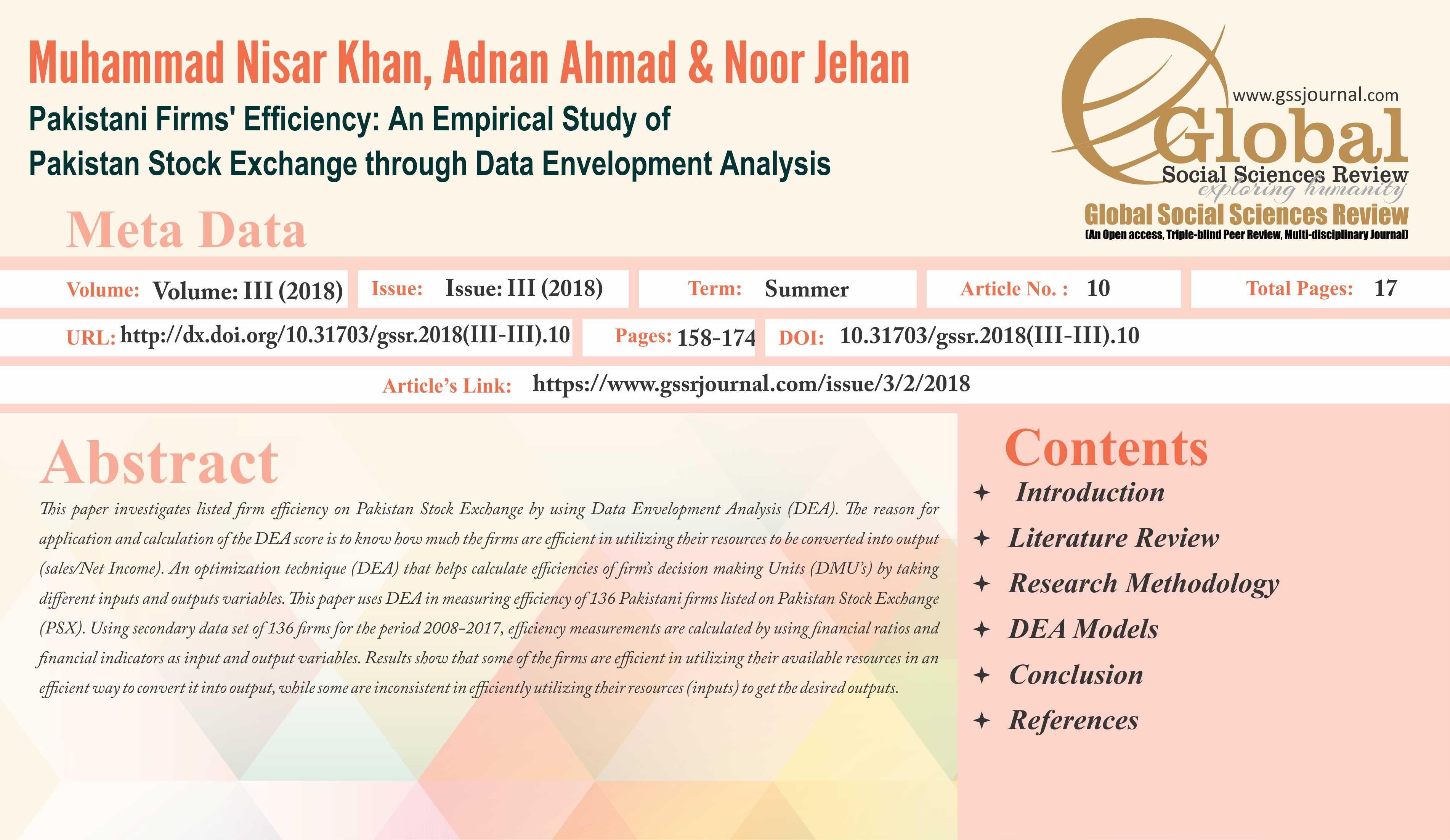 Topic Pakistani Firms Efficiency An Empirical Study Of