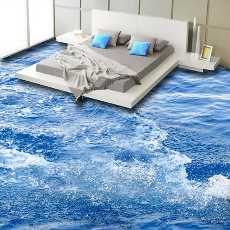 Modern Simple 3D Floor Tiles Wallpaper Blue Sea Wave Mural