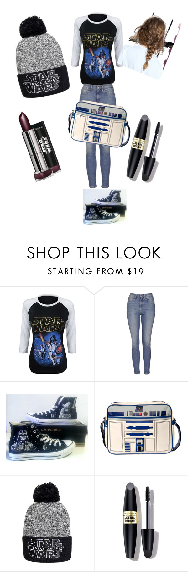 """""""Star Wars mania"""" by livivs ❤ liked on Polyvore featuring moda, Topshop, Converse y Max Factor"""