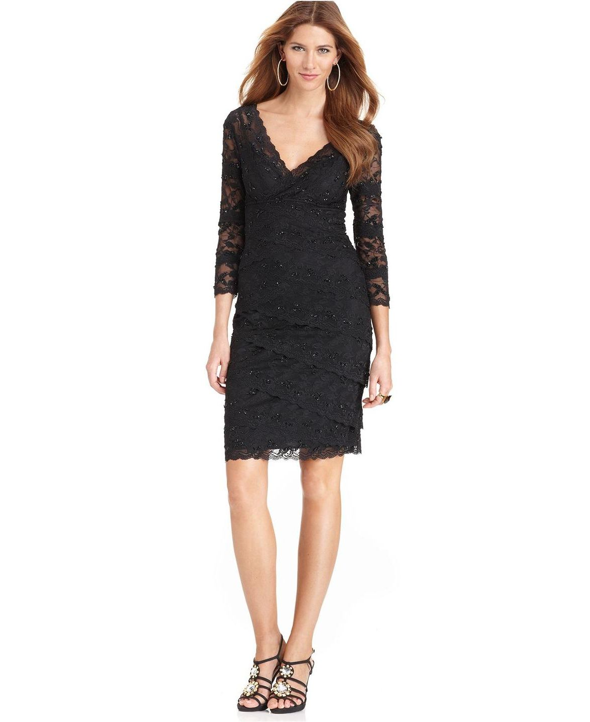 Long Sleeve Black Lace Dress Macy\'S | LongSleeve Dress | Pinterest