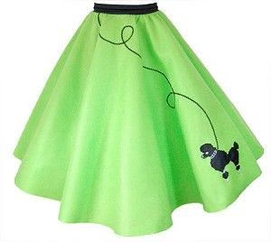 50's POODLE SKIRT Adult LIME GREEN