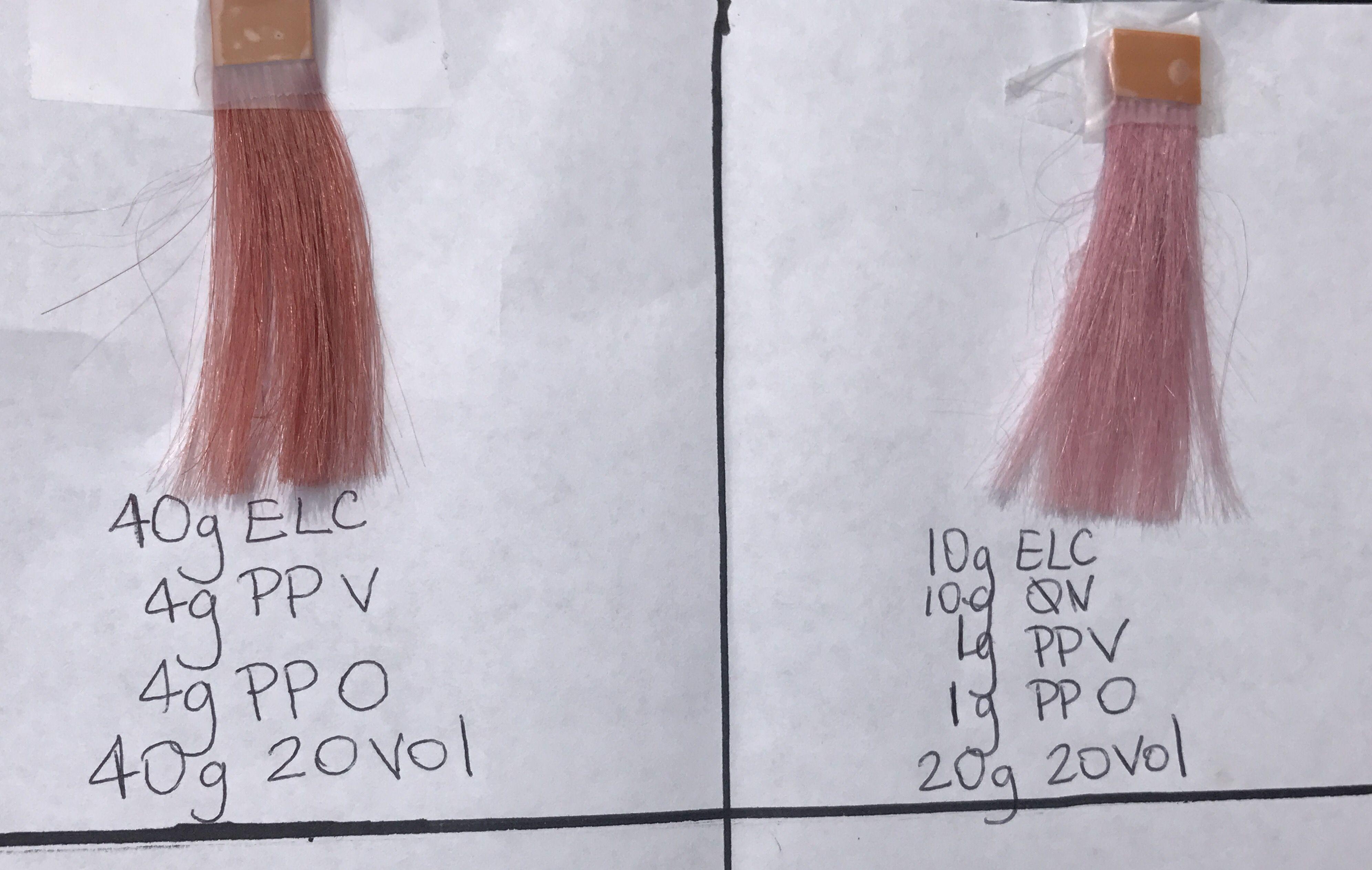 Aveda rose gold, rosé, pink formula  Formulas done on pivot point