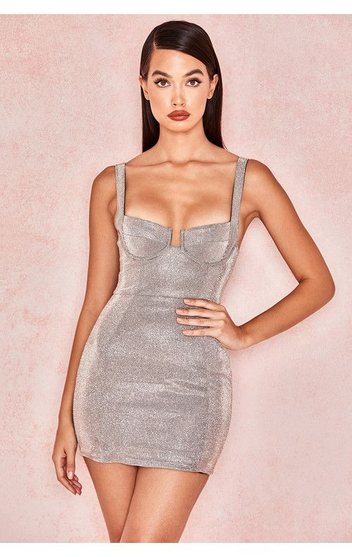 11352345c950 Clothing : Bodycon Dresses : 'Luisa' Silver Sparkly Bustier Mini Dress