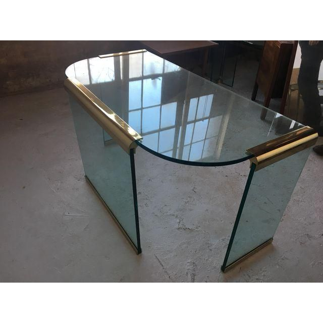 20th Century Leon Rosen For Pace Brass And Glass Desk C L I E N T