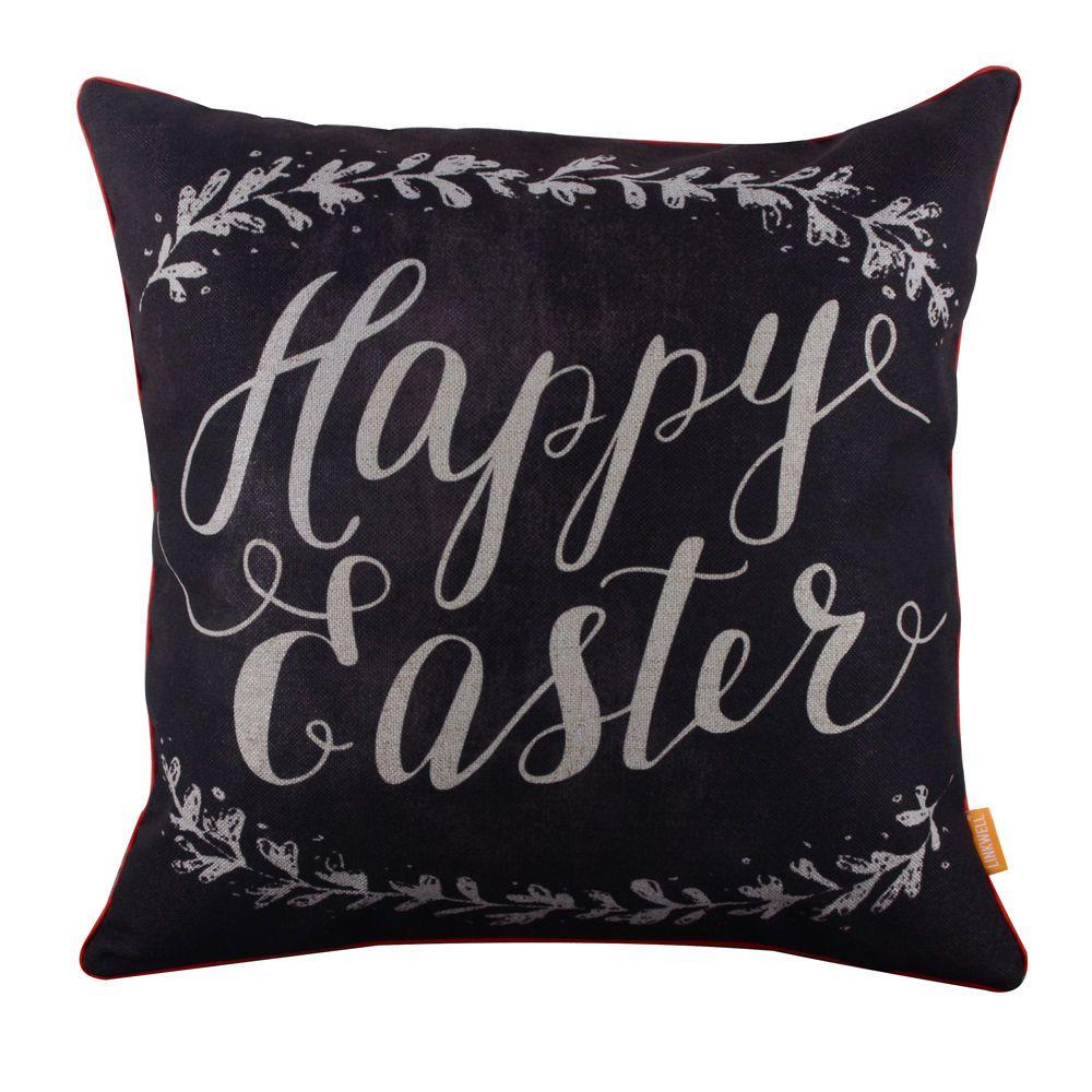 Happy easter blackboard art chalk words look linen cushion cover