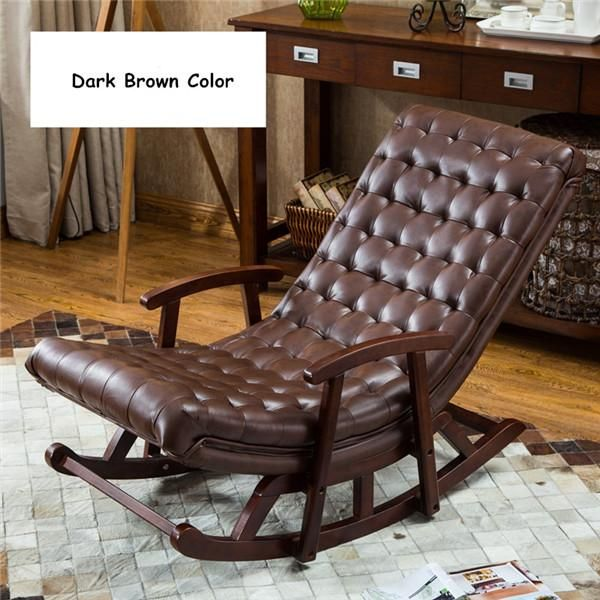 Modern Leather Wood Rocking Lounge Chair Armchair Living Room Bedroom Furniture Comfortab Brown Furniture Bedroom Wood Bedroom Furniture Arm Chairs Living Room