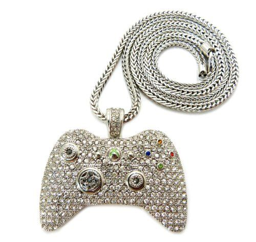 Iced Out Xbox 360 Game Controller Pendant w/36″ Franco Chain Necklace - http://geekarmory.com/iced-out-xbox-360-game-controller-pendant/