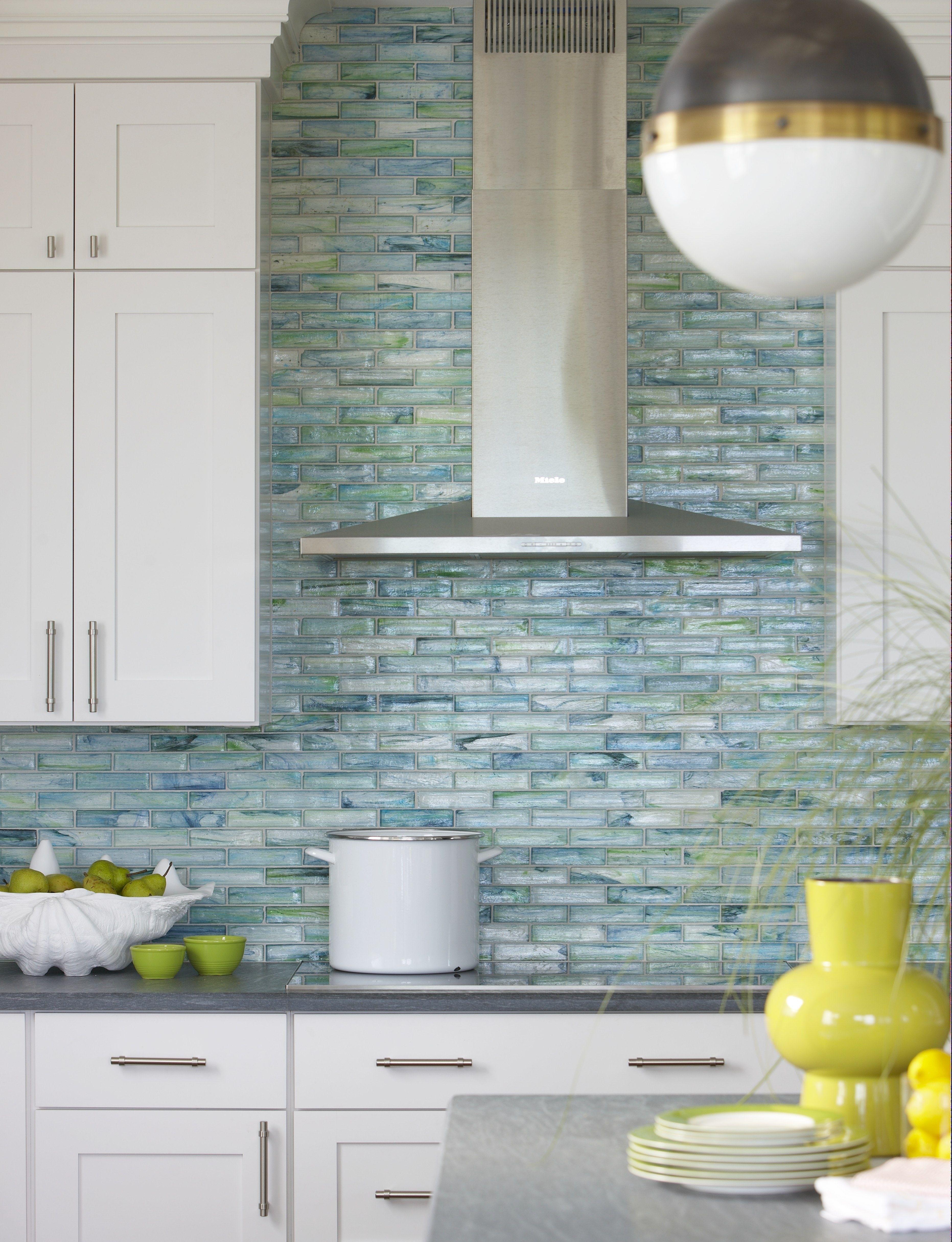 Coastal Beach House Kitchen With Watery Blue Green Glass Tile And Pietra Cardosa Beach House Kitchens Beach Kitchens Coastal Kitchen