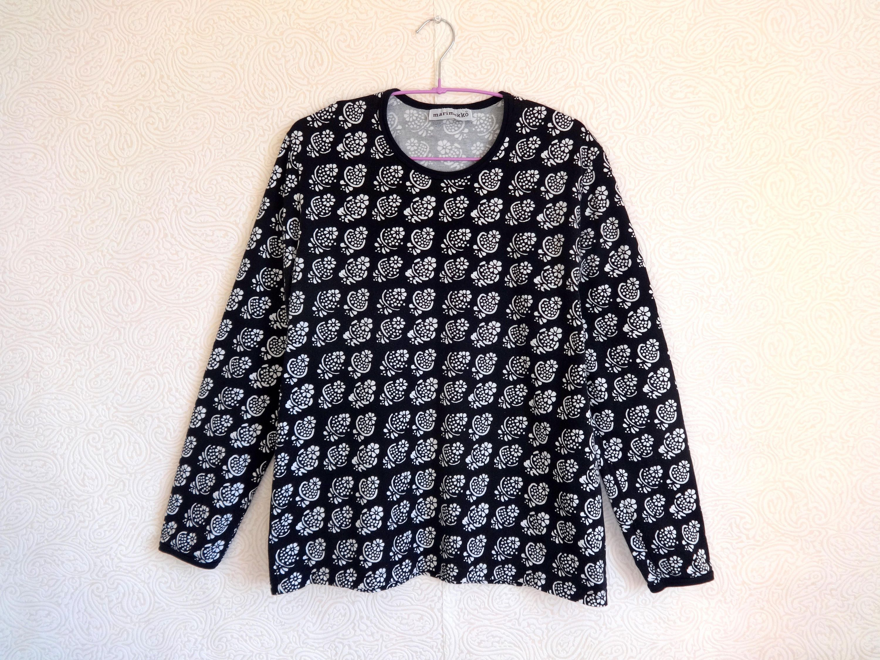 698ae376 MARIMEKKO Black & White Cotton Jersey Shirt Floral Shirt Women's XL  Marimekko Top Long Sleeve Printed Flowers Marimekko Clothing by  Vintageby2sisters on ...