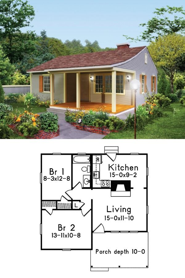 733 Sq Ft 2 Bedrooms 1 Full Bath Fireplace House Plan 592 008d 0159 New House Plans Tiny House Floor Plans Small House Plans