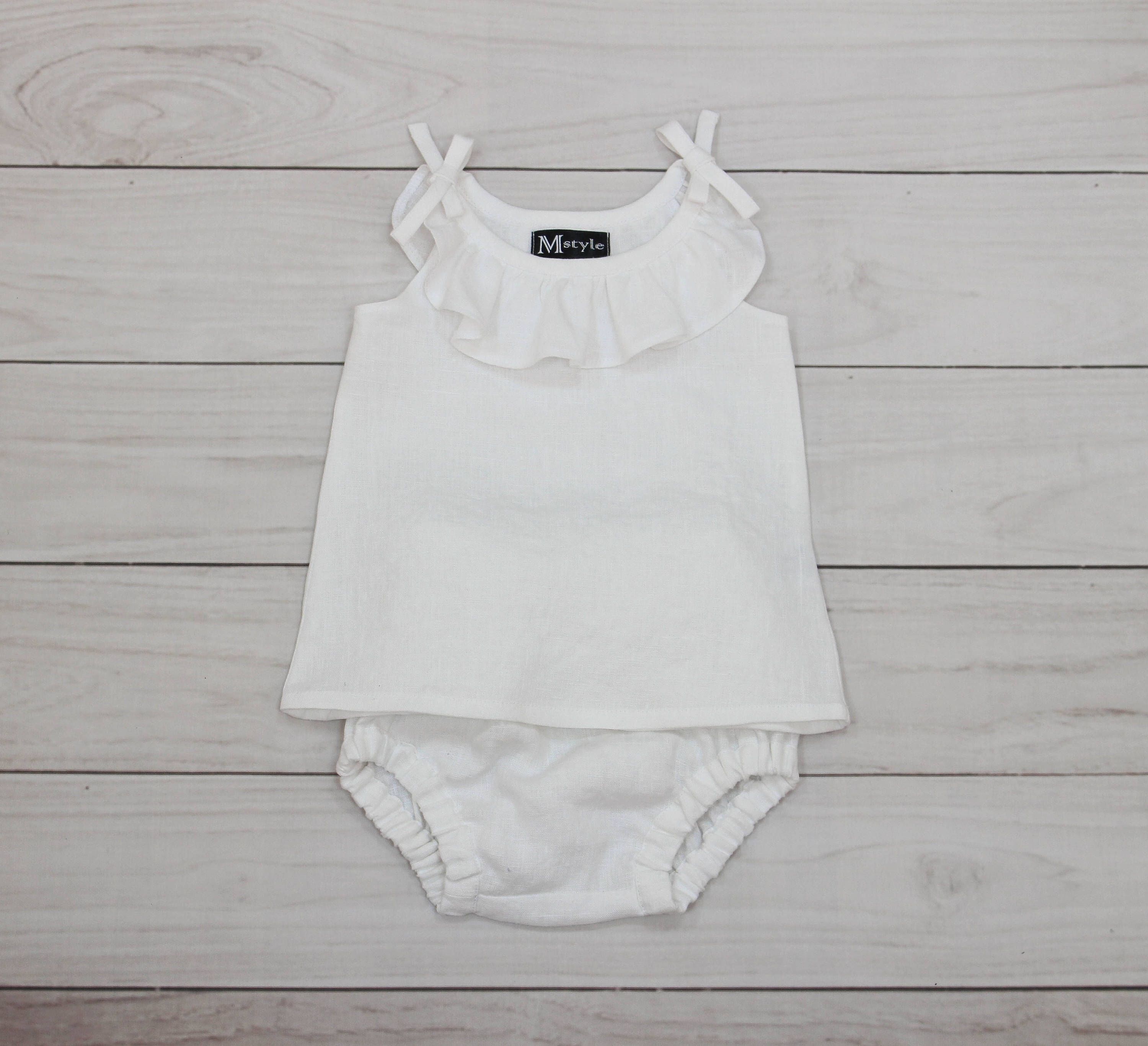 White girl set baby shower outfit ruffle blouse baby clothes set