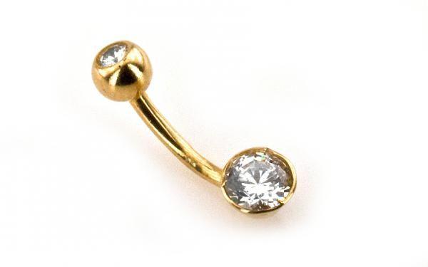 """Zlatý piercing zo 14 karátového žltého zlata ,,big stone"""""""