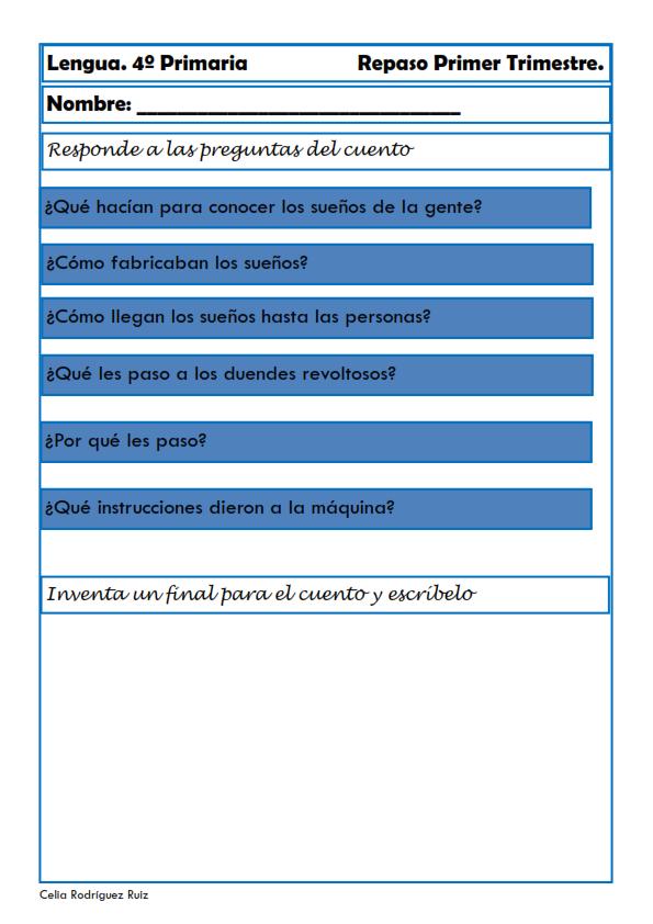 Recursos educativos; Fichas de lengua para Cuarto de Primaria Hoy os ...