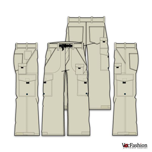 Mens Cargo Pants Vector Template Fashion Flats and Patterns