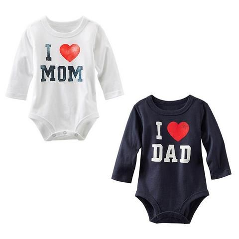 bf664677e Unisex Kids Baby Rompers I Love MOM DAD Letter Print Long Sleeve ...