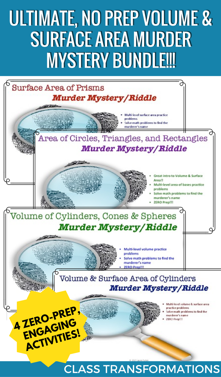 Ultimate, No Prep Volume and Surface Area Murder Mystery Activity Bundle