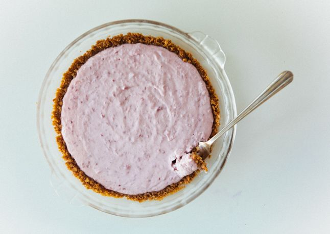 No-Bake Berry-Yogurt Cake with Sugar Cone Crust
