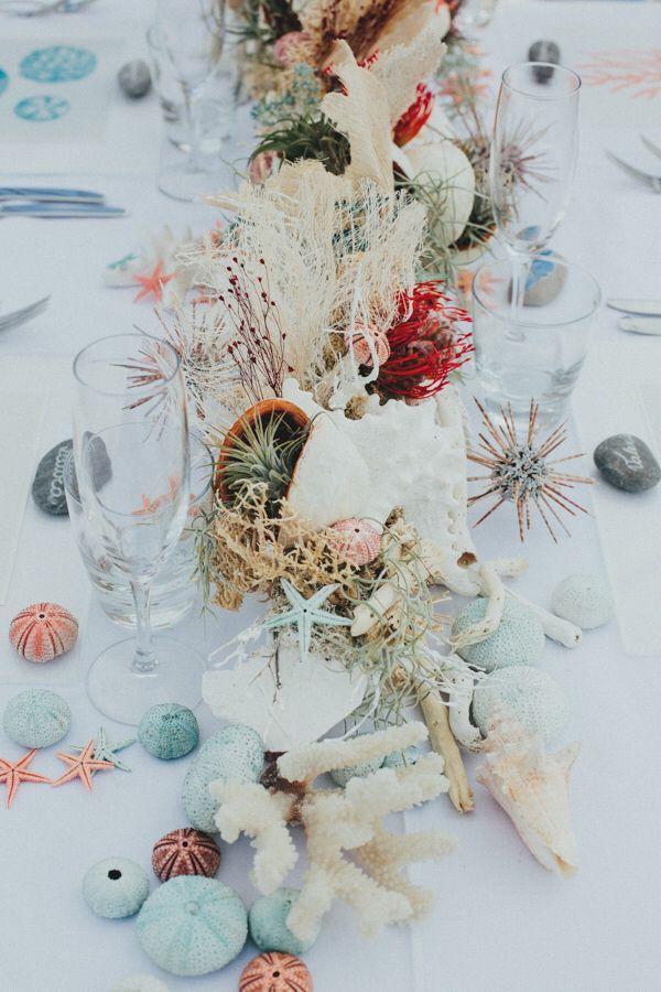 Gorgeous beach wedding table centerpiece