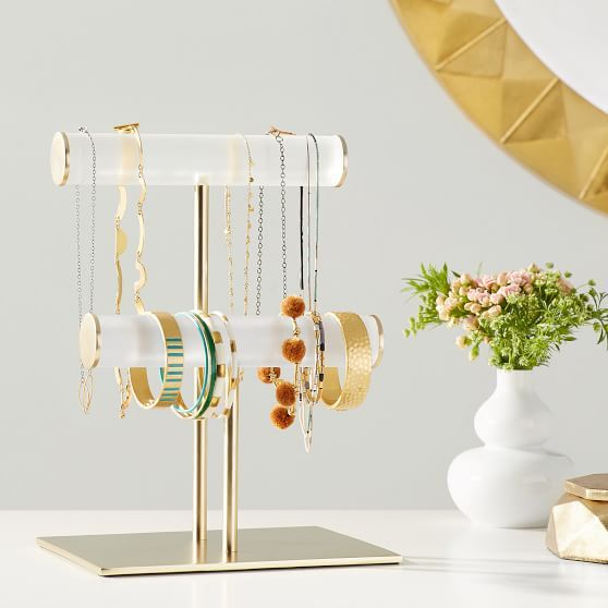 Ava Frosted Acrylic Double Bar Jewelry Stand In 2020