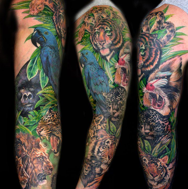 Fantastic animal sleeve tattoo ideas pinterest for Tropical themed tattoos