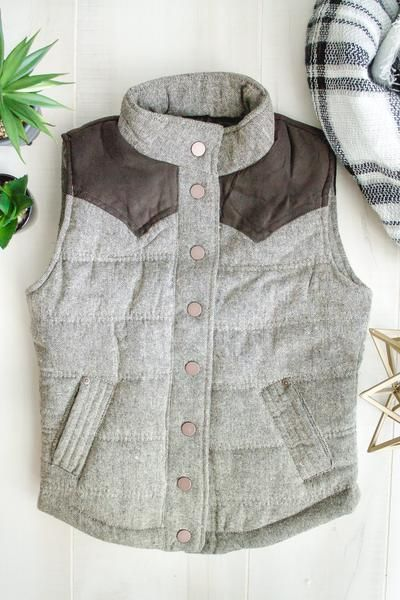 Tweed Padded Puffer Vest