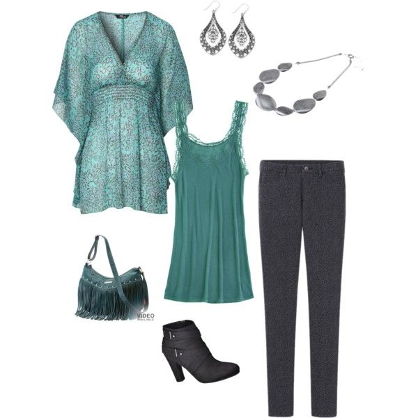 """""""Teal and gray animal print"""" by jen-wheeland on Polyvore"""