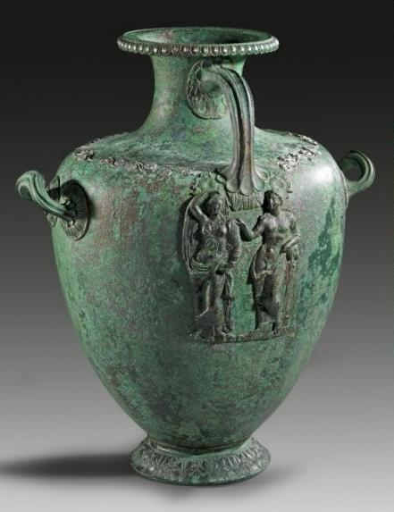 "Bronze hydria (""kalpis"") with fluted handles. Greek, 4th century B.C."