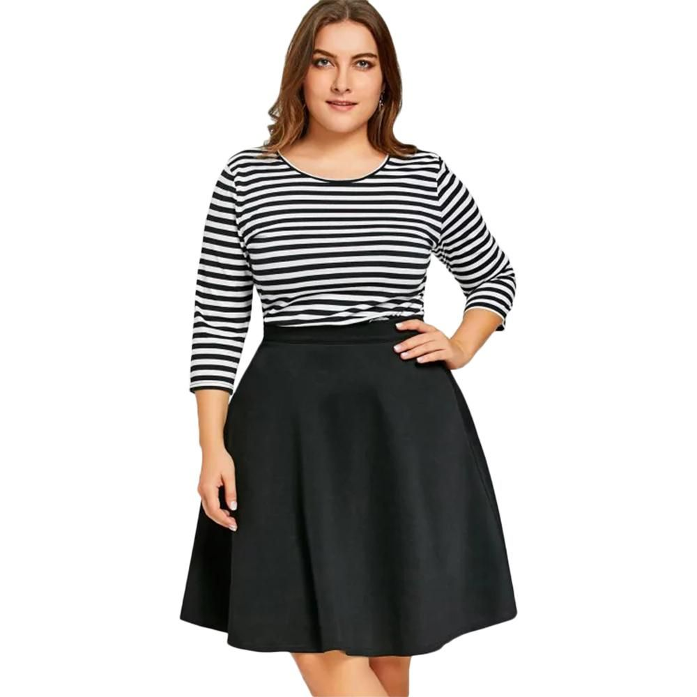 13dfd6fb6ebd Gamiss Plus Size Stripe 3 4 Sleeve Tshirt Tops And Black Skirt Set 2 ...