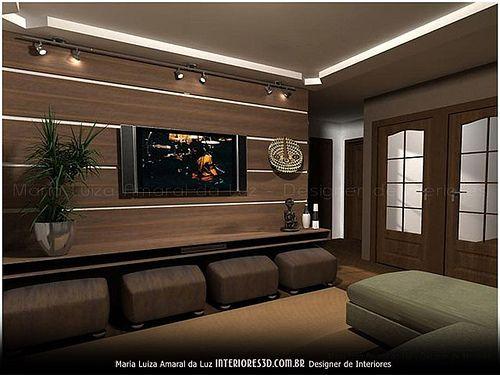 Sala Estar Home Theater ~ home theater  puff abaixo do rack mais assentos quando necessário e