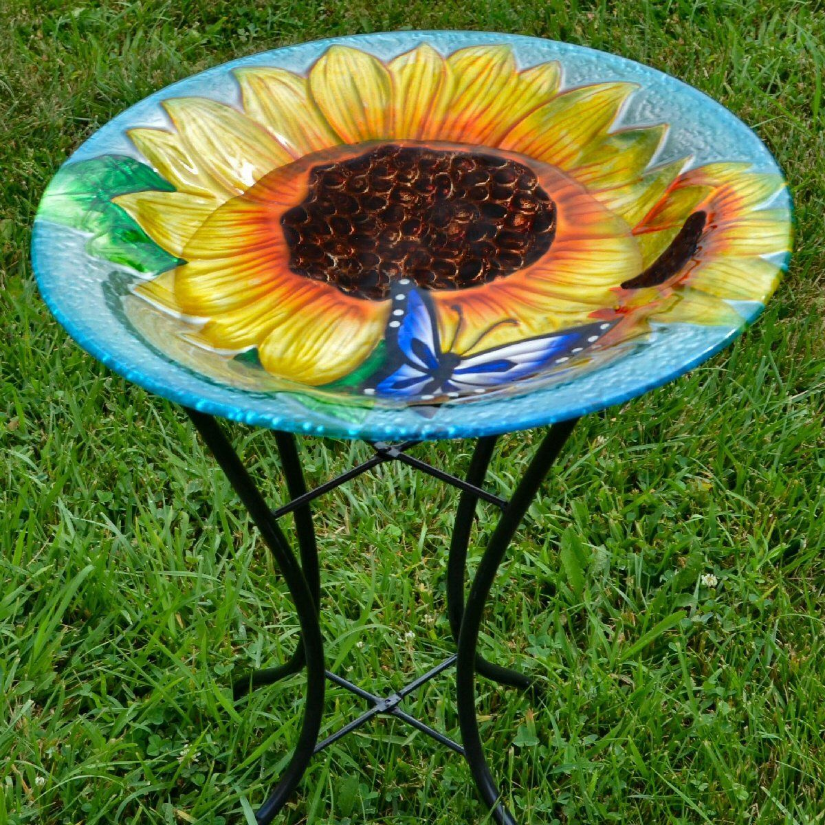 Sunflowers Glass Bird Bath W Stand Bath Bird Glass Sunflowers Wstand In 2020 Bird Bath Glass Bird Bath Glass Birds