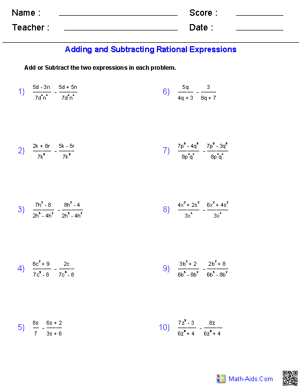 Adding And Subtracting Rational Expressions Worksheets  MathAids