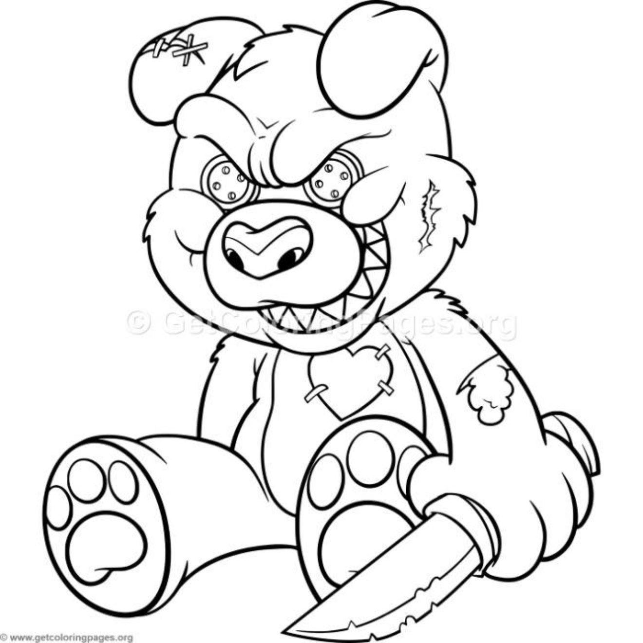 Funny Cartoon Evil Teddy Bear 2 Coloring Pages is part of Evil teddy bear -