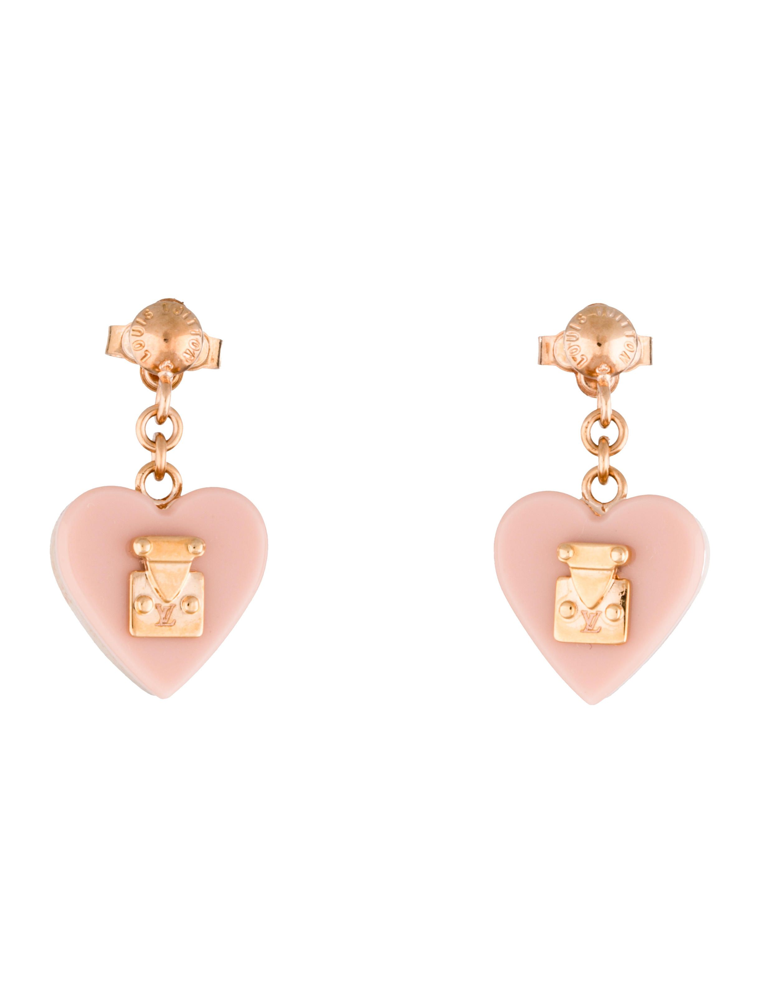 Rose Goldtone Louis Vuitton Lock Me Earrings With Pink Resin Heart Drops  And Clutch