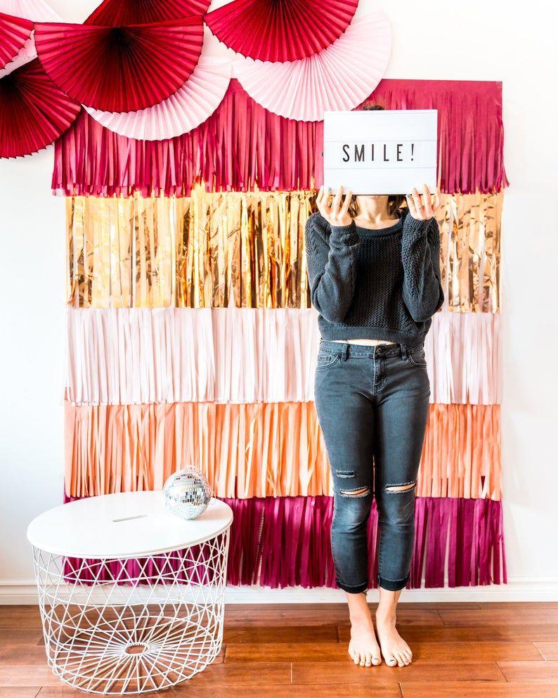 Fringe Backdrop - Eucalyptus Green Sage and Rose Gold Photobooth Backdrop, Baby Shower Backdrop, Fringe Curtain